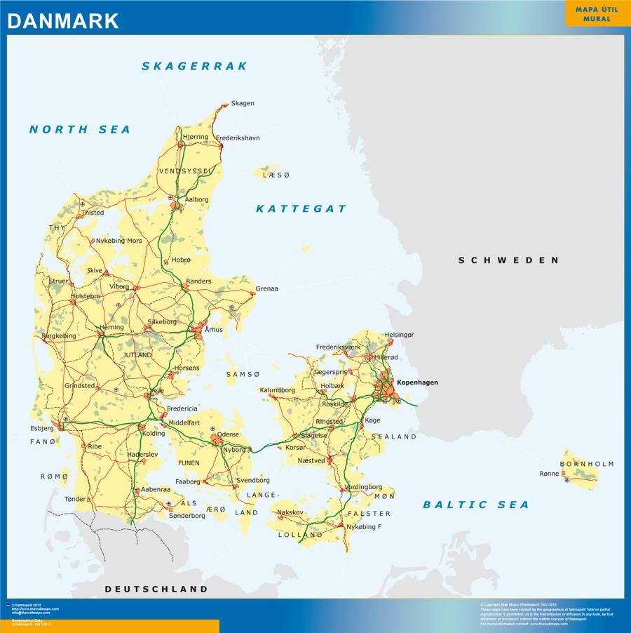 mapa dinamarca