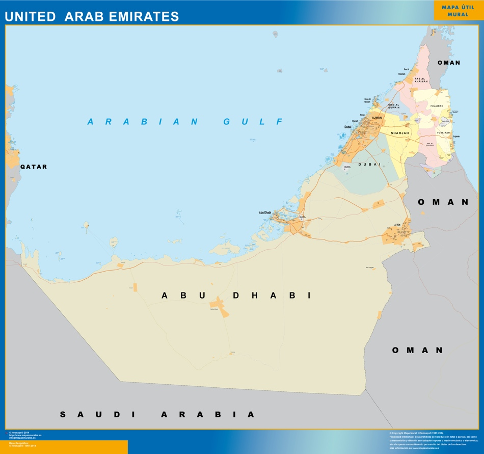 mapa emiratos arabes unidos