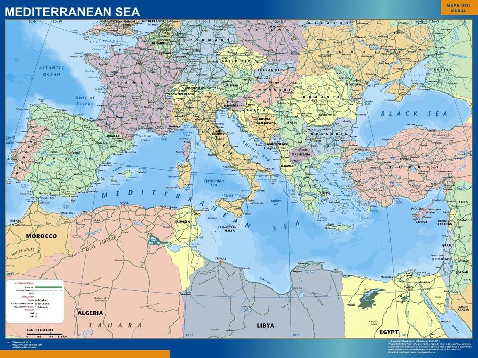 mapa mar mediterraneo